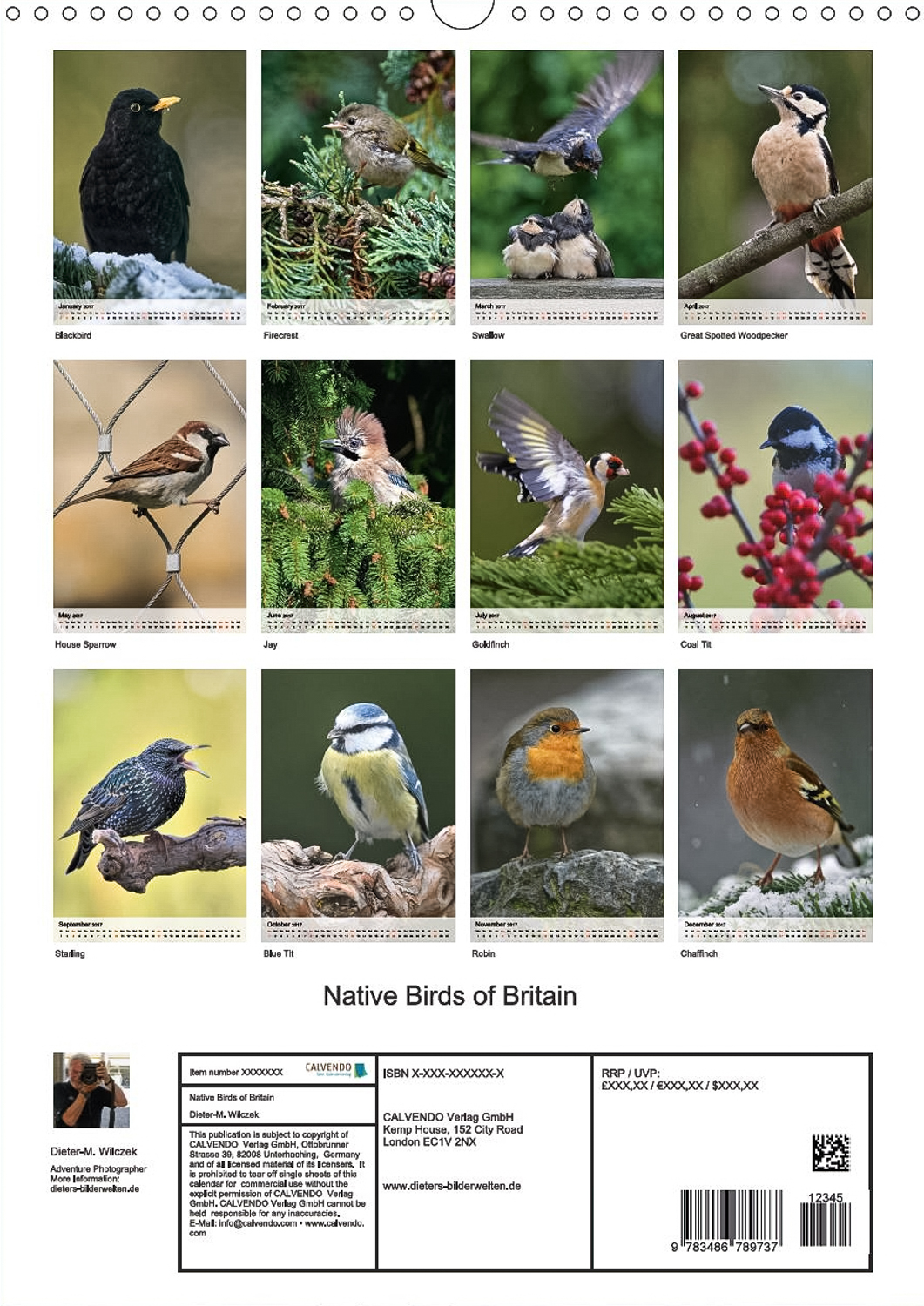 Native Birds of Britain - Rückseite Kalender